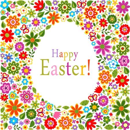patrón de flores tapa tarjeta de Pascua