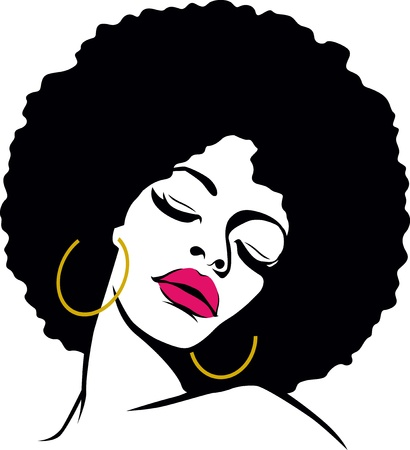 african american silhouette: afro hair hippie woman pop art