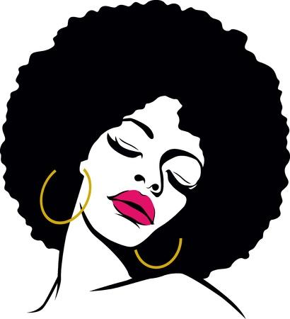 visage femme africaine: cheveux afro pop hippie femme art