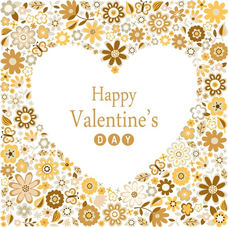 romance heart valentines flower card  Stock Vector - 17588108