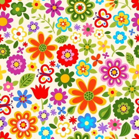 seamless retro flower pattern  Illustration