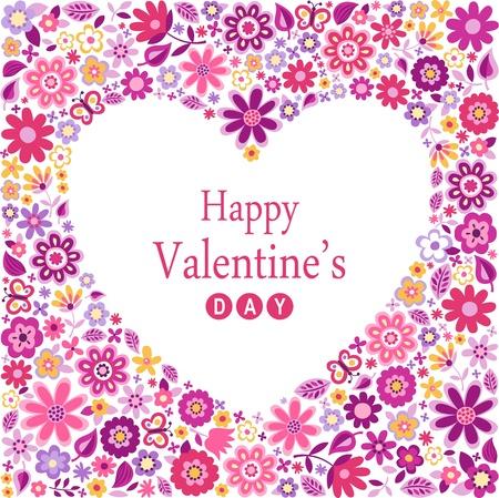 flores fucsia: corazón romántico día de San Valentín flor tarjeta