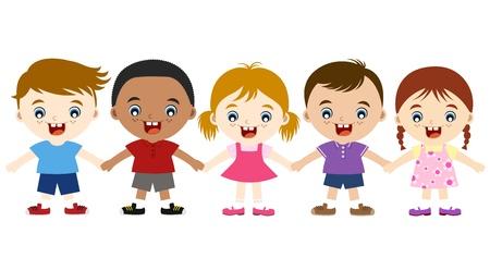 multicultureel: schattige multiculturele kinderen hand in hand Stock Illustratie