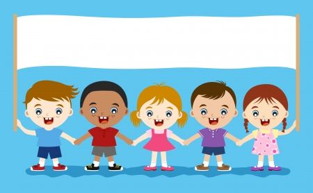 happy cute children holding empty banner for message  Stock Vector - 17588113
