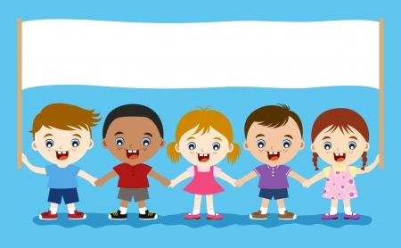 multicultureel: happy schattige kinderen houden leeg banner voor bericht Stock Illustratie