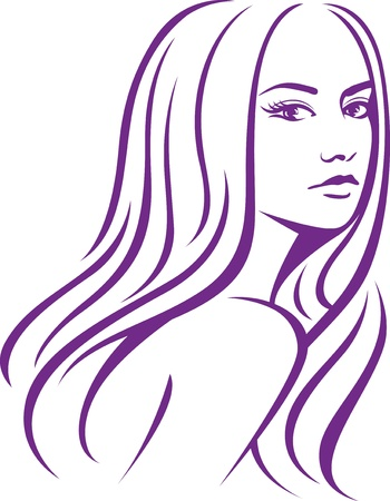 female woman with long hair  Vector