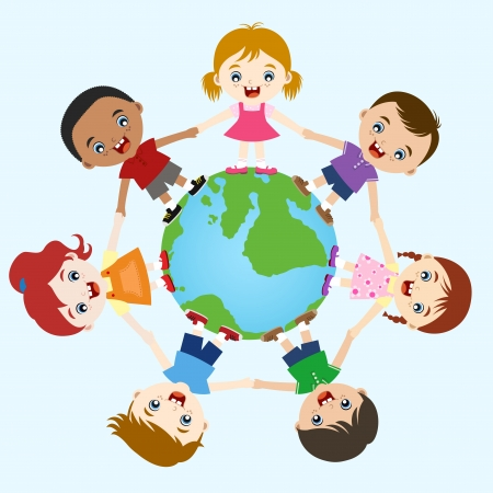multicultural children hand in hand on earth  Vector