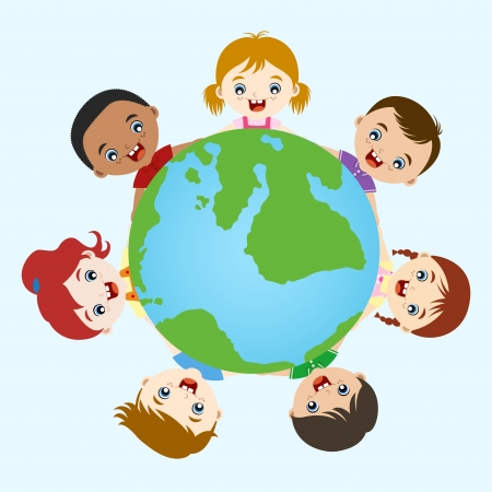 mixed family: multicultural children hand in hand on earth  Illustration