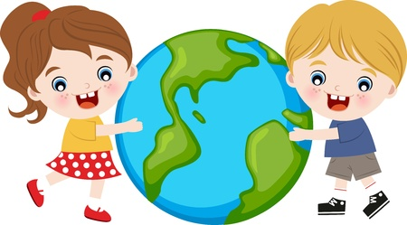 children hugging the earth  Vector