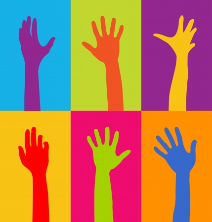 arms raised: colorful hands