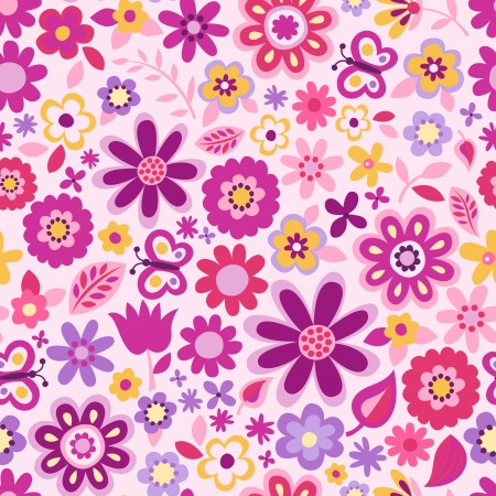 fuchsia flower: cute floral seamless background