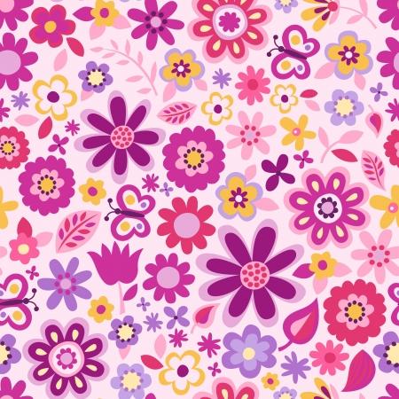 flores fucsia: lindo fondo floral sin fisuras
