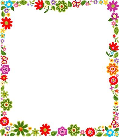 かわいい花柄ボーダー柄  イラスト・ベクター素材