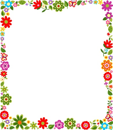 border cartoon: cute floral border pattern