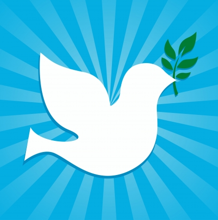 paloma símbolo de la paz que sostiene una rama de olivo