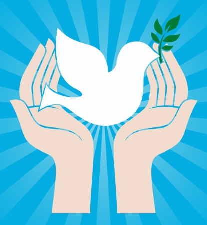 hands holding plant: dove peace symbol holding an olive branch