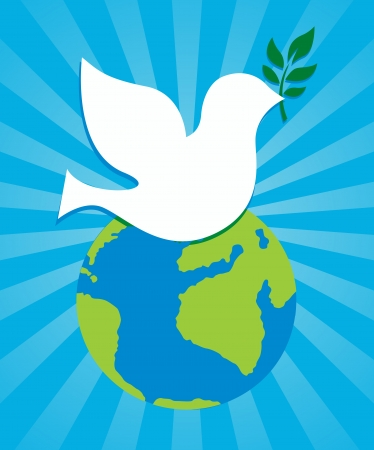 world peace: dove peace symbol holding an olive branch