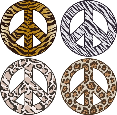 peace sign in animal skin pattern  Vector