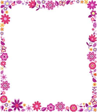flores fucsia: patrón floral frontera Vectores