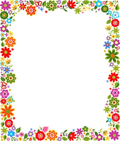 childish: floral pattern border frame