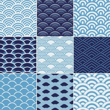 물결: 원활한 바다 물결 텍스처 패턴