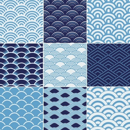 japanese pattern: seamless ocean wave texture pattern