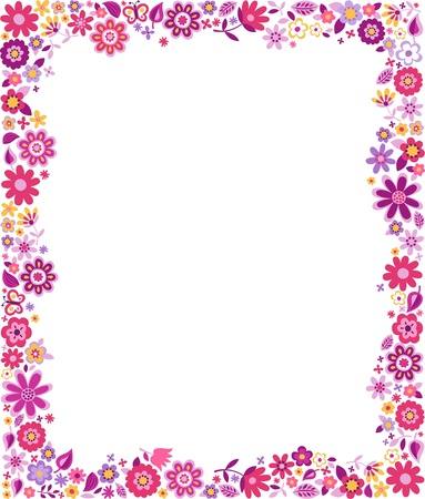 border cartoon: floral pattern border frame
