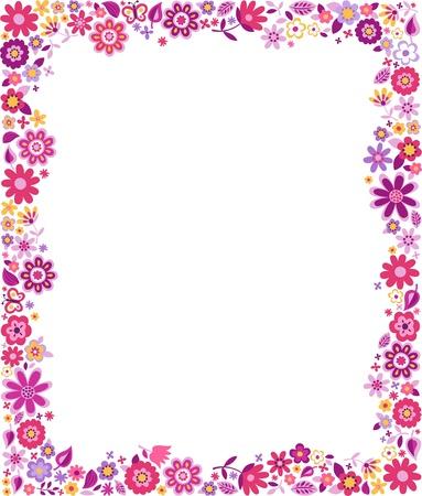 flores fucsia: patr�n floral frontera Vectores