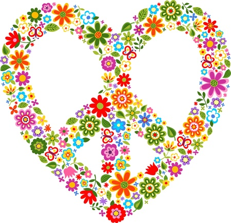 peace symbol: heart peace symbol with floral pattern  Illustration