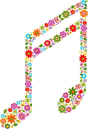 songs: musical note with colour flowers pattern