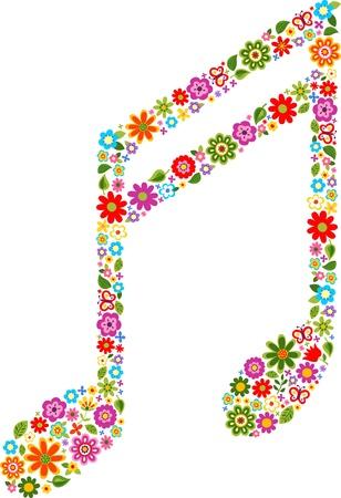 simbolos musicales: nota musical con patr�n de flores de color