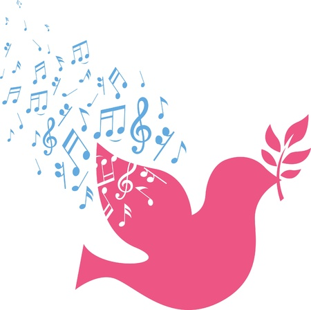 abstract symbolism: musical note sign with flying pink dove