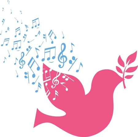 musical sign note z latającego różowego gołębia
