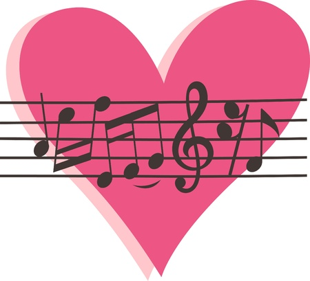 musical note sign with pink heart background Vector