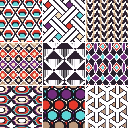 rounded squares: colourful seamless geometric pattern