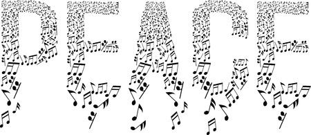 安らぎ: 音符と平和のシンボル  イラスト・ベクター素材