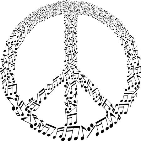 paz mundial: signo de la paz con el patrón de notas musicales Vectores
