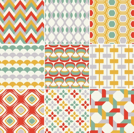 wallpaper rings: retro seamless abstract geometric pattern  Illustration