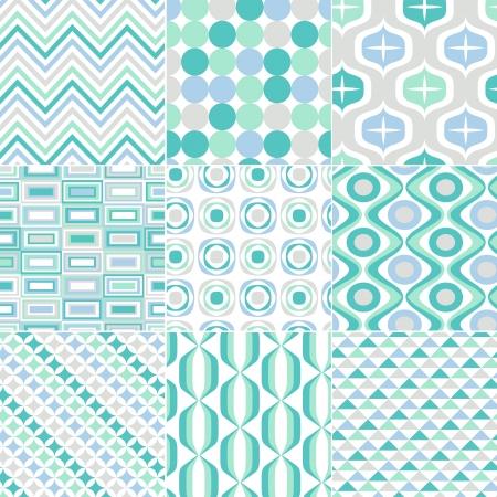 아쿠아: 원활한 복고풍 패턴 인쇄