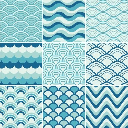 シームレスなレトロな波のパターン印刷