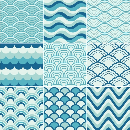 seamless retro wave pattern print  Vector