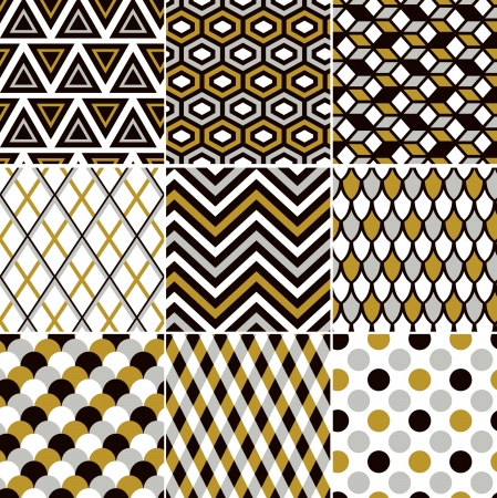 scallop: seamless gold pattern print