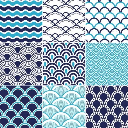 シームレスな海洋波パターン  イラスト・ベクター素材