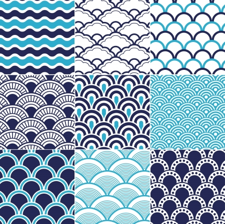 navy blue: seamless ocean wave pattern  Illustration