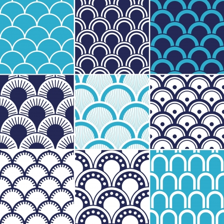navy blue background: seamless ocean wave pattern  Illustration