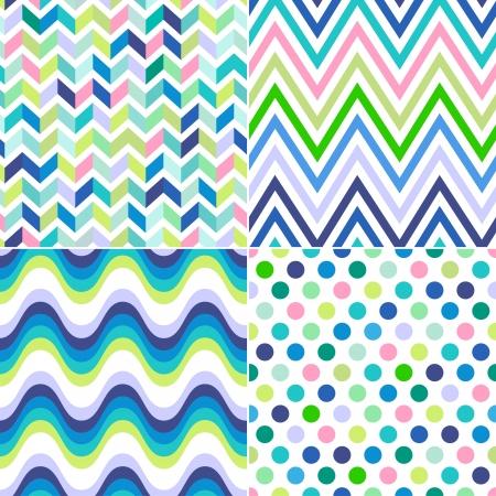 zig: seamless stripes, zig zag and polka dots background