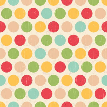 polka dots: Seamless grunge circles polka dots background texture Illustration