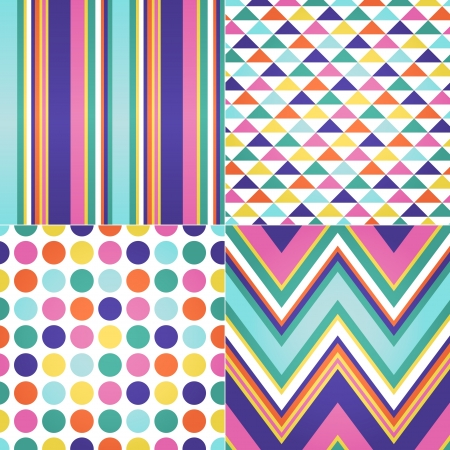 seamless stripes, zig zag and polka dots background  Stock Vector - 20778448