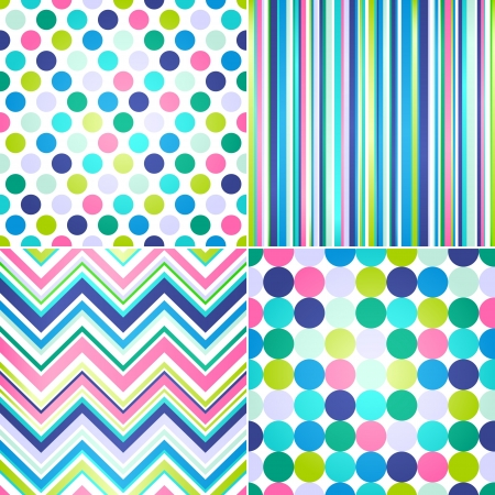 seamless colorful stripes and polka dots background