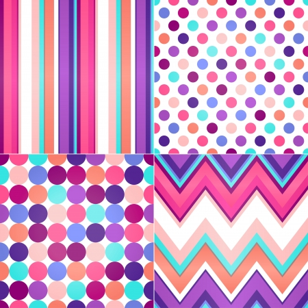 seamless retro zig zag, circle dots and stripes background  Vector